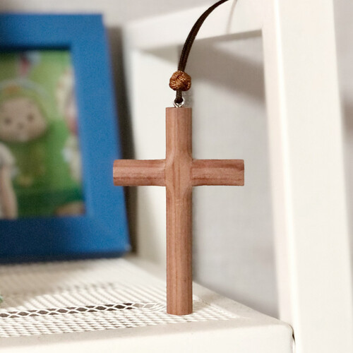 향나무 십자가 목걸이(大)