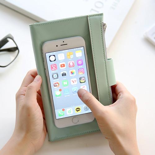 더블 지퍼 여성 지갑 - 스마트폰 수납 가능