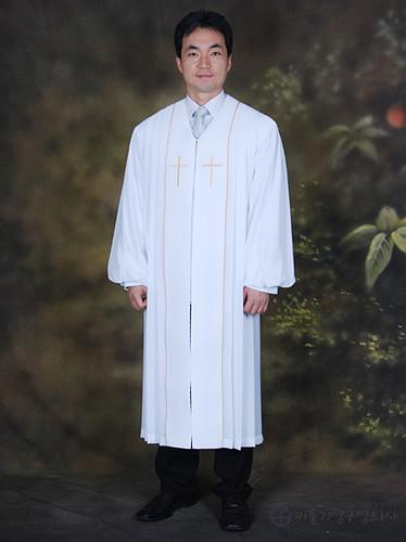 자수라인 목사가운_흰색(B01-016)