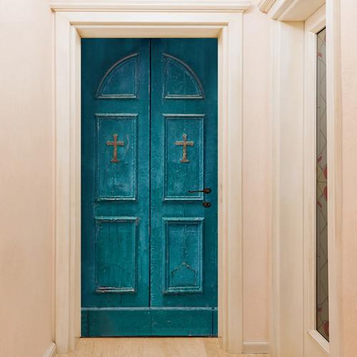 (현관문 시트지) 십자가 빈티지 WOODEN DOOR
