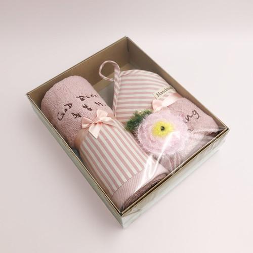스트라이프 장타올+사각 주방타올+수세미 세트(핑크)