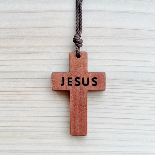 카멜 JESUS 나무십자가 목걸이(中)