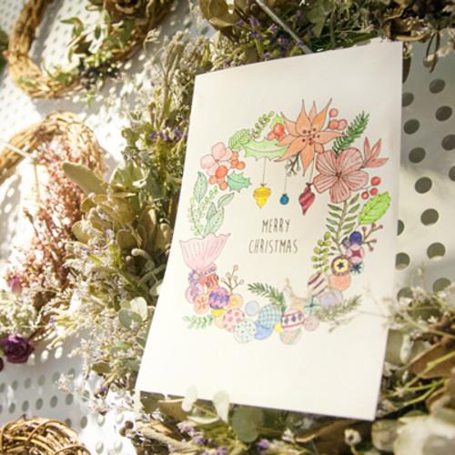 하베스터 크리스마스 카드 - 상상리스 (DIY 컬러링 카드)