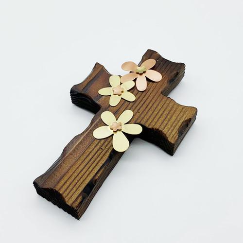 벽걸이 나무십자가(소) 큰꽃잎 / 자석부착겸용