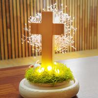 LED 원목 십자가 - 프리저브드 드라이플라워 무드등(핑크)