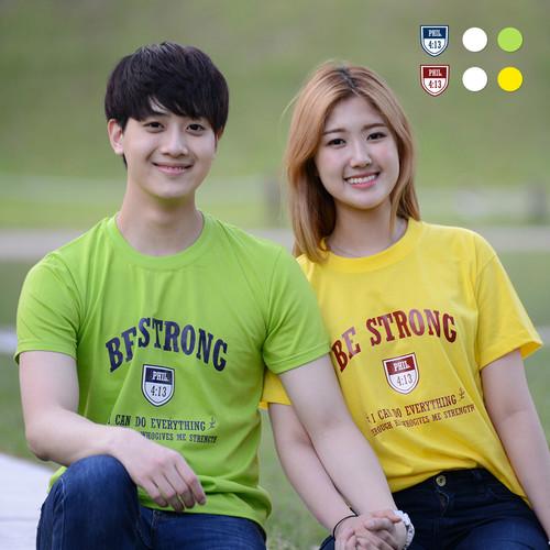 2019 교회단체티 - 방패 BE STRONG (흰색/노랑/연두) 교회티셔츠