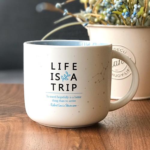 제이씨핸즈 인생은여행 머그 컵 [블루] 350ml 본차이나 무광코팅 선물 케이스