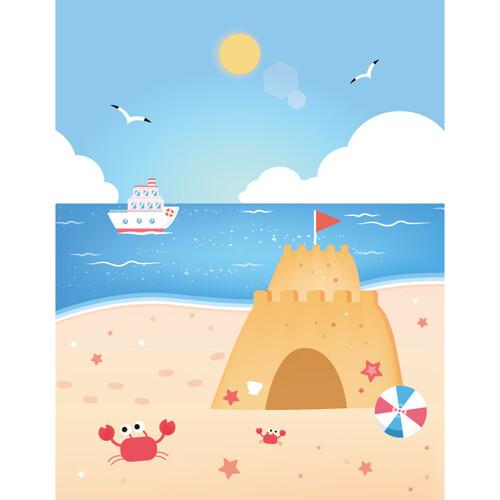 여름배경현수막(모래성)-553 ( 140 x 180 )