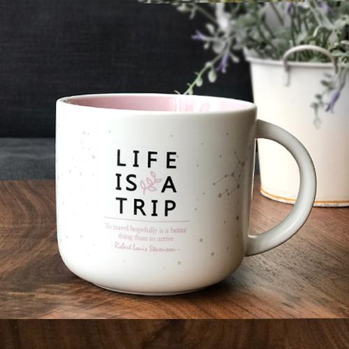 제이씨핸즈 인생은여행 머그 컵 [핑크] 350ml 본차이나 무광코팅 선물 케이스
