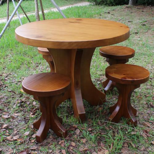 소나무 원탁 테이블 (의자포함)
