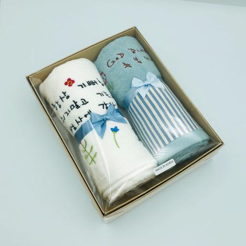 110 스트라이프 장타올 + 성경자수 목화솜 장타올 2종 세트 (블루+스노우화이트)