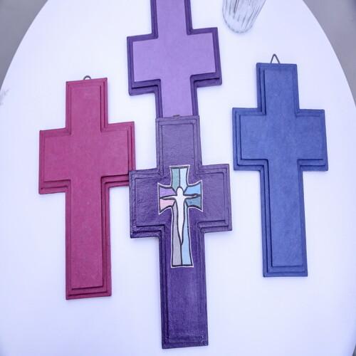 한지 수공예 삼단 십자가