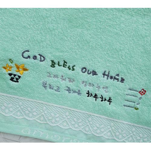 칼라 레이스 자수 성경타올(민트) - GOD BLESS OUR HOME (인쇄가능)