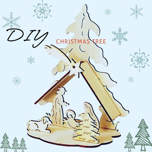DIY만들기 입체 나무 크리스마스 트리와 탄생 정원 꾸미기