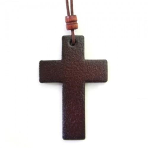가죽 십자가 목걸이 - 중 (체리)
