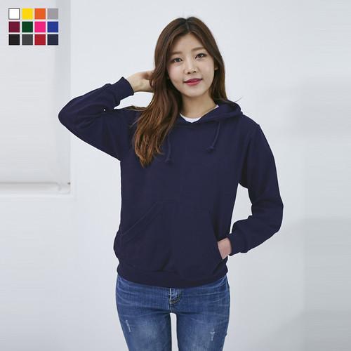 고급특양면 무지 후드 티셔츠 _성인
