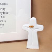 스탠드 십자가 면류관 골드큐빅 - 탁상용 도자기십자가 (무광/유광)