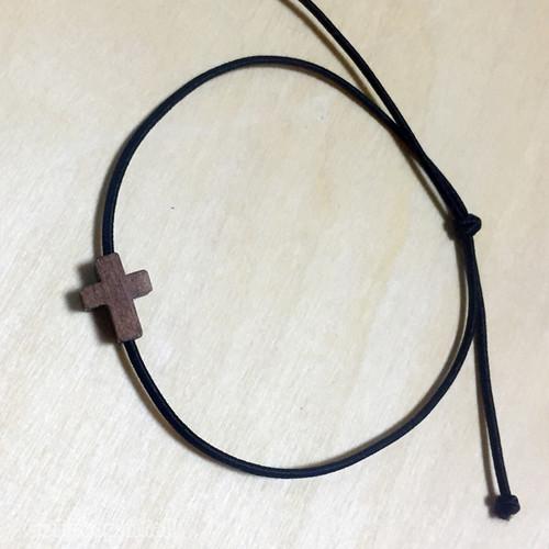 작은나무 십자가 고무줄 팔찌