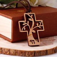 생명나무 십자가 목걸이 (단풍나무원목)