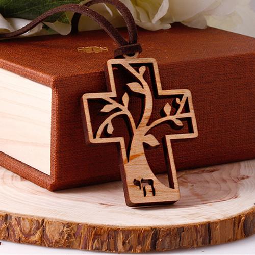 생명나무 십자가 목걸이 (자작나무)