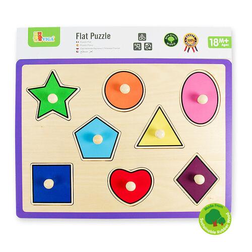 비가 원목 꼭지퍼즐 - 도형