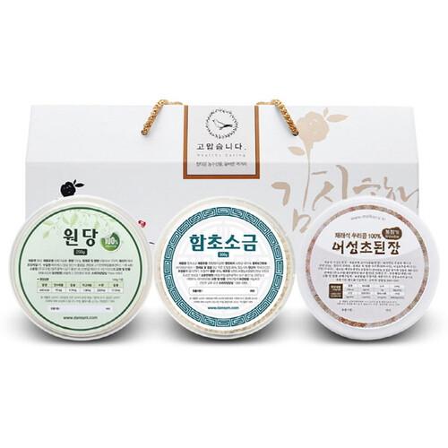 단짠 혼합 3종세트 (원당-함초굵은소금-된장) (250g~300g)