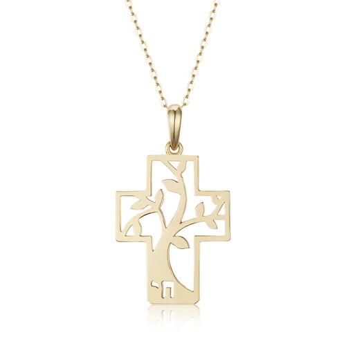 생명나무 십자가 14k 목걸이