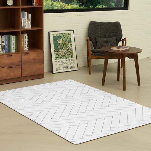 [안탈로 디자인 매트] 양면 PVC매트 화이트해링본 크림솔리드