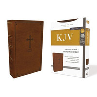 KJV: Thinline Bible, Large Print, Brown, Red Letter Edition, Comfort Print (Leathersoft)