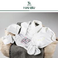 [한수] 축복말씀 자수 배냇저고리세트(모자, 자수배냇저고리, 턱받침, 손싸개, 발싸개+밤부손수건,포장상자,종이가방)