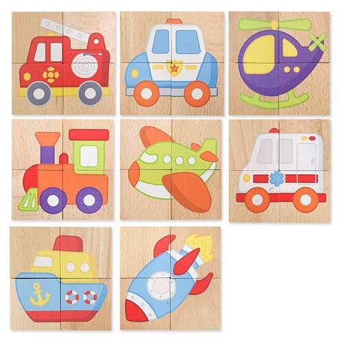 비가 원목 자석 퍼즐 - 교통
