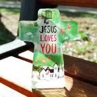 크리스탈 스탠드 십자가 - JESUS LOVES YOU