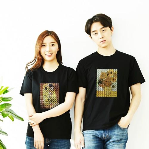 신개념 3D 모자이크 명화 아트 반팔 티셔츠(블랙)