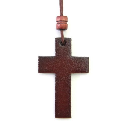 가죽 십자가 목걸이 - 소 (체리)