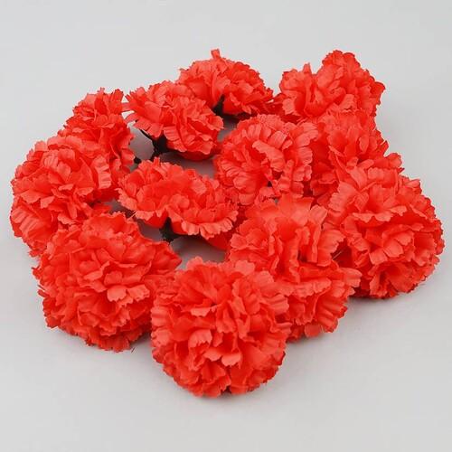 인조 조화꽃 카네이션 꽃머리 레드 6.5cm 12개 세트