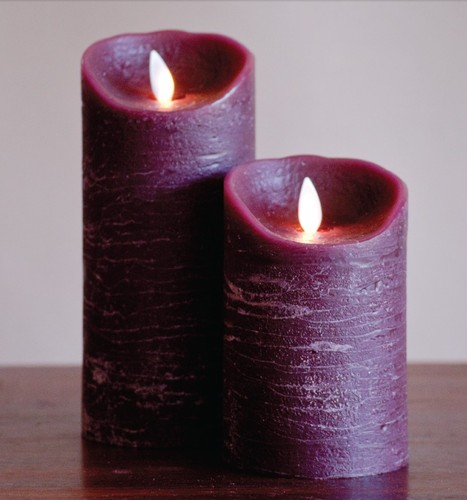 FLAMELESS CANDLE BURGUNDY DISTRESSED - 진홍색
