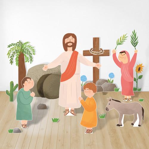 피콕 캐릭터 부직포-십자가와 부활