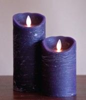 FLAMELESS CANDLE PLUM DISTRESSED - 진자주색