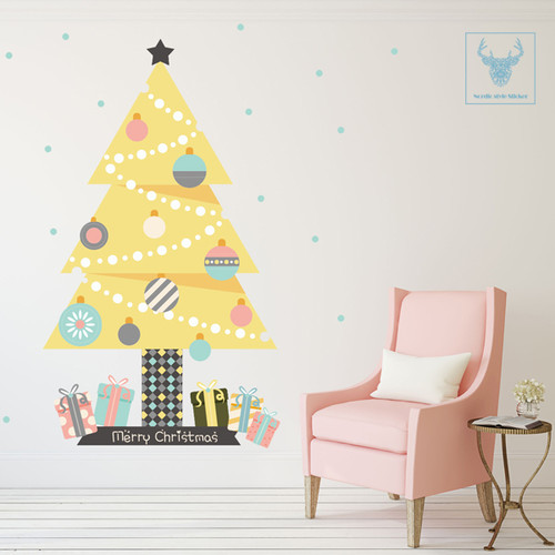 [한정판-북유럽스타일] KWC-2101 노란 트리/크리스마스/트리/겨울/벽면/인테리어