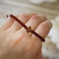 [블레슈] 평매듭 십자가 팔찌 - 버건디