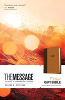 Message: Deluxe Gift Bible (Leather-Look, Brown/Saddle Tan)