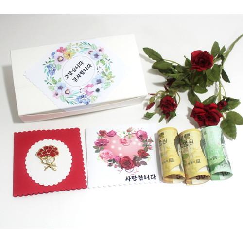 카네이션브로치 선물(상자+브로치+감사카드+돈비닐5장)