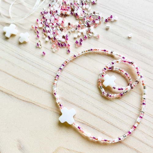 비즈 십자가 팔찌 반지 세트 만들기 DIY