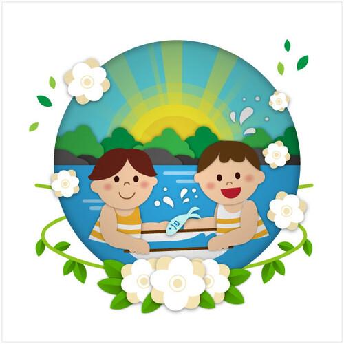 여름배경현수막(계곡)-518 ( 180 x 180 )