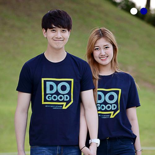 교회단체티 반티 - 쉼표 Do Good (흰색/네이비) 교회티셔츠