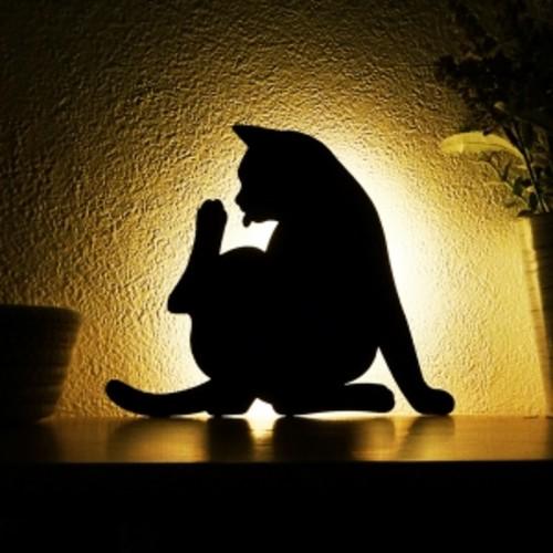 벽면 부착 LED 고양이 무드등 실내 센서등(동작감지, 소리감지) - 일본산