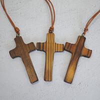 수공예 나무결 십자가-차량용 차량걸이 룸미러 작은 공간용 십자가