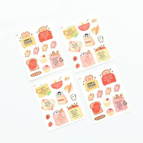 그레이스벨 헬로든든 셀프컷팅 스티커(4장) 02.빵