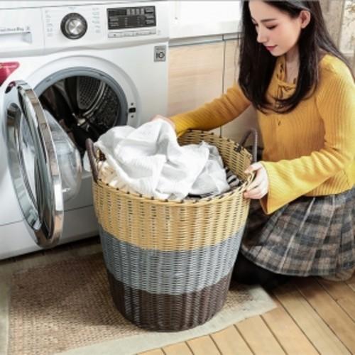 세탁 빨래 바구니 라탄 타입