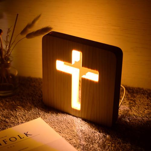 원목 십자가 LED 무드등